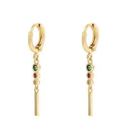 Earrings elegant Stones multi gold