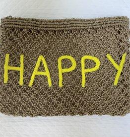 "Handtas/pochette ""Happy"" yellow"