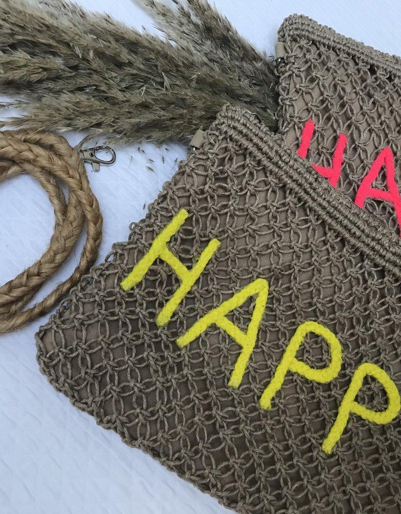 "Handtas/ pochette ""Happy"" yellow"