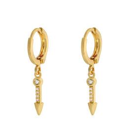 Earrings zirconia arrow gold