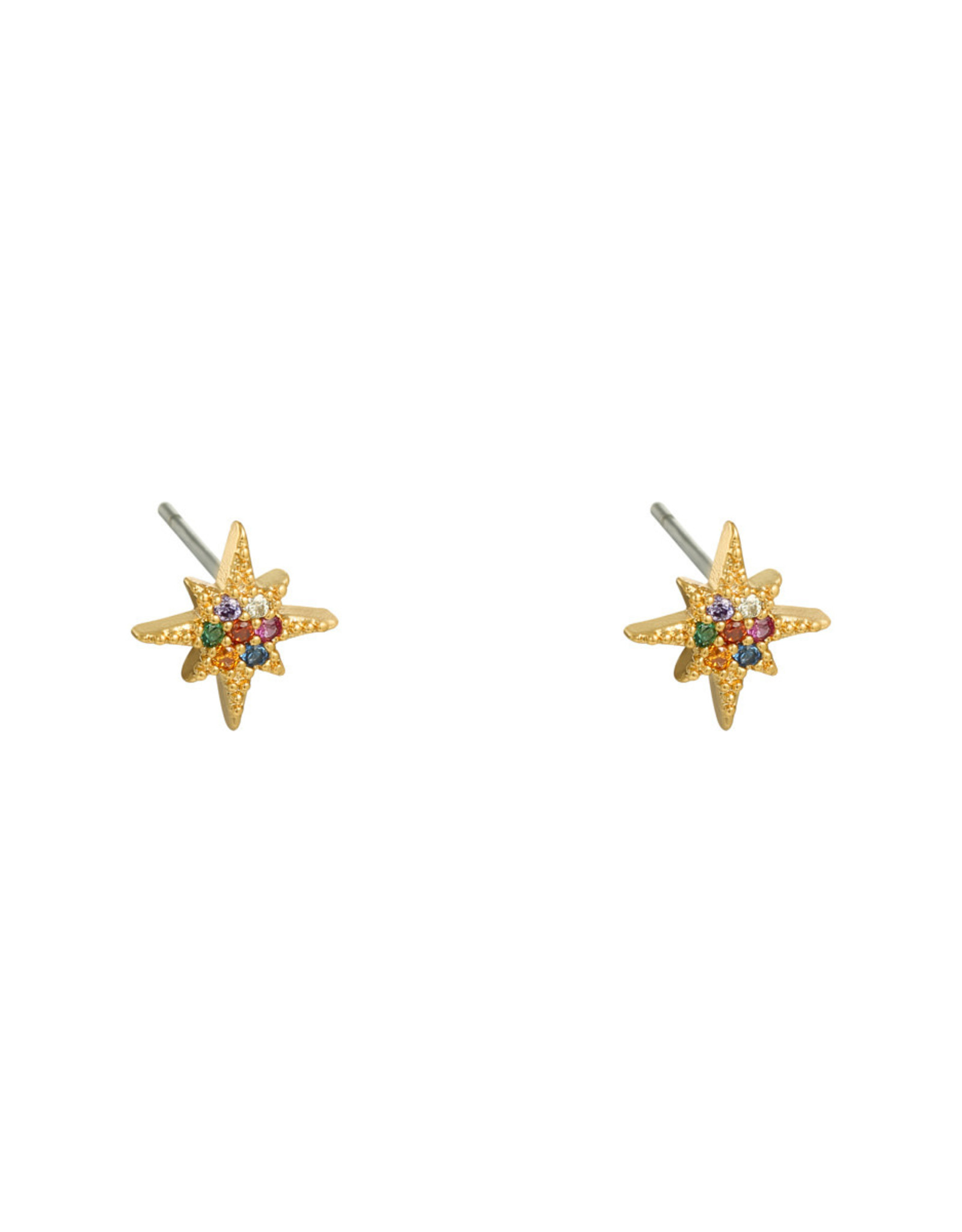 Earring star mini multi gold