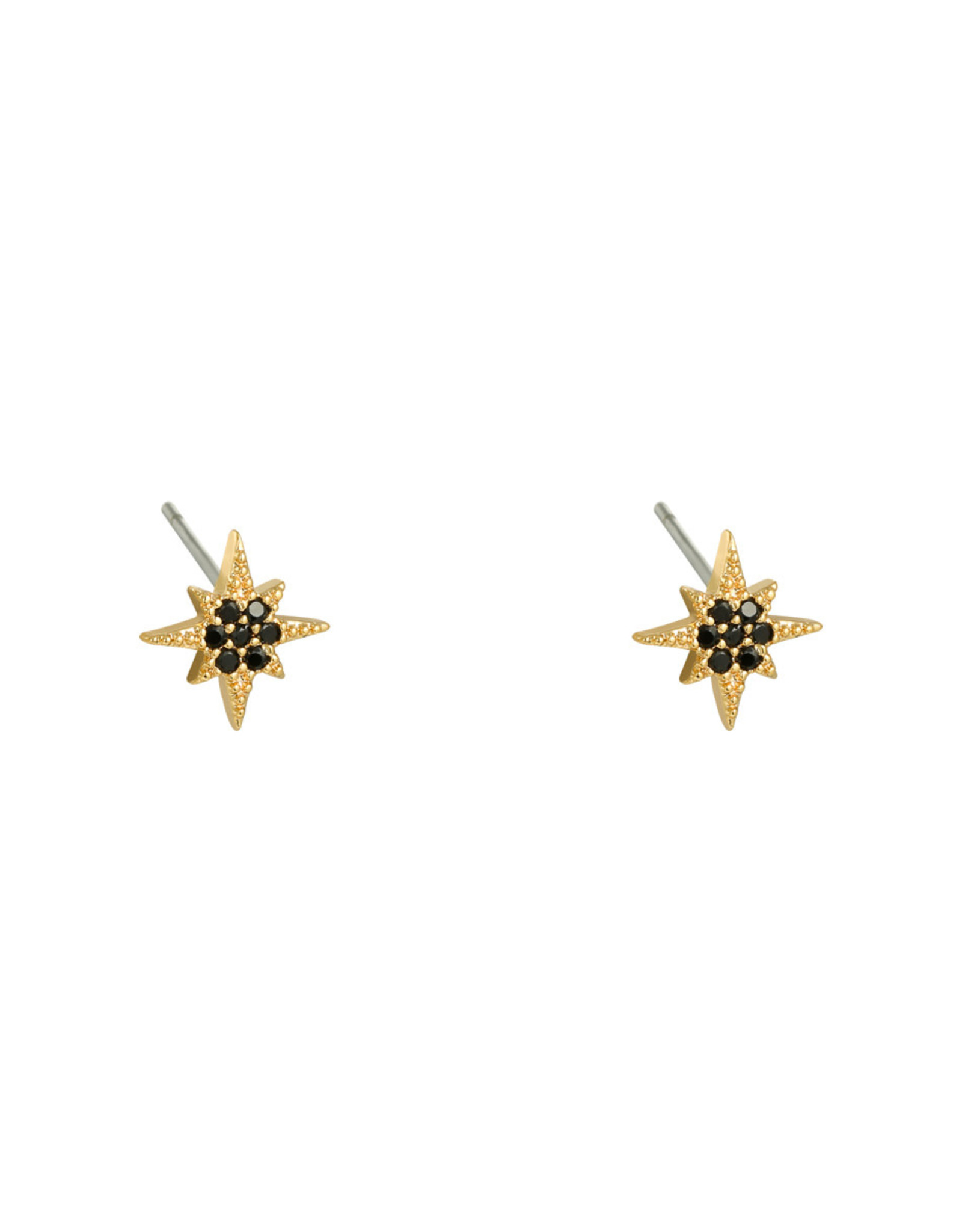Earring star mini black gold