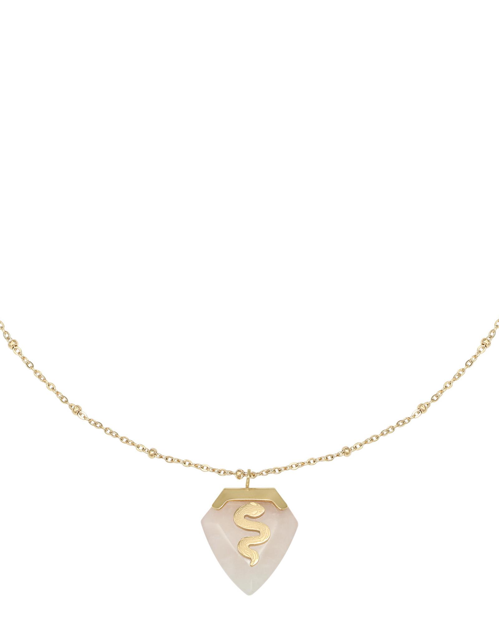 Necklace snake gem pink
