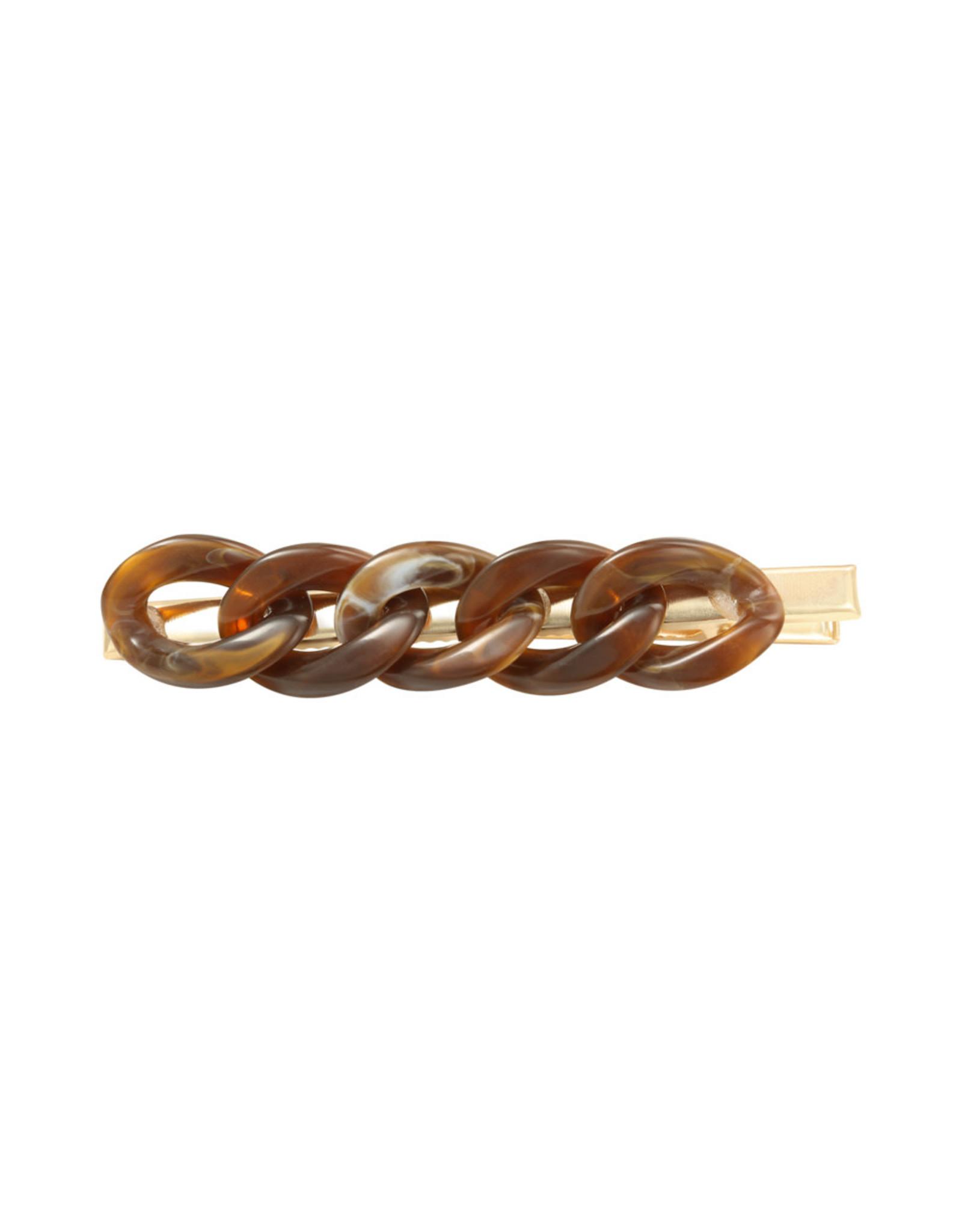 Hairclip big chain Brown
