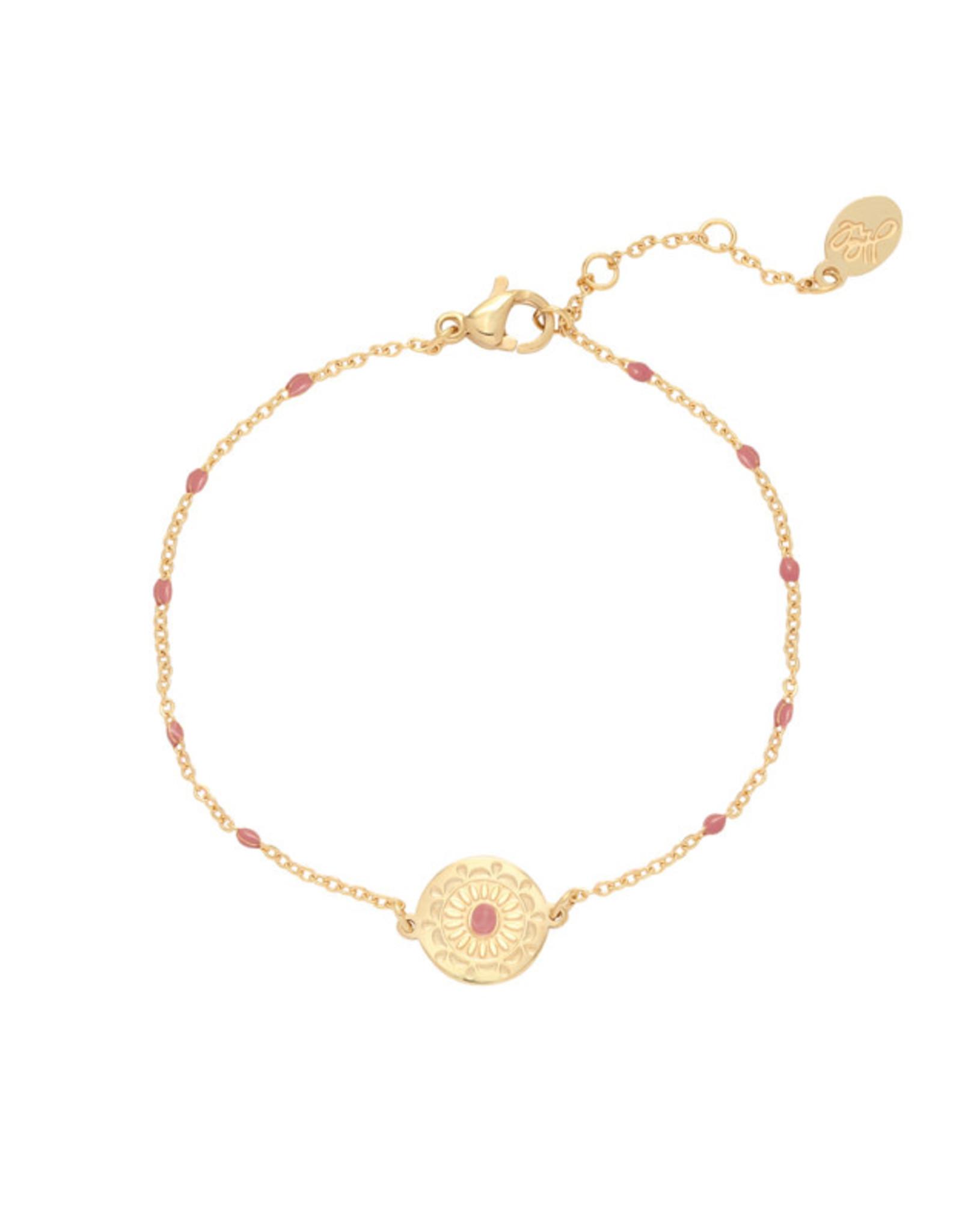 Bracelet deco coin pink