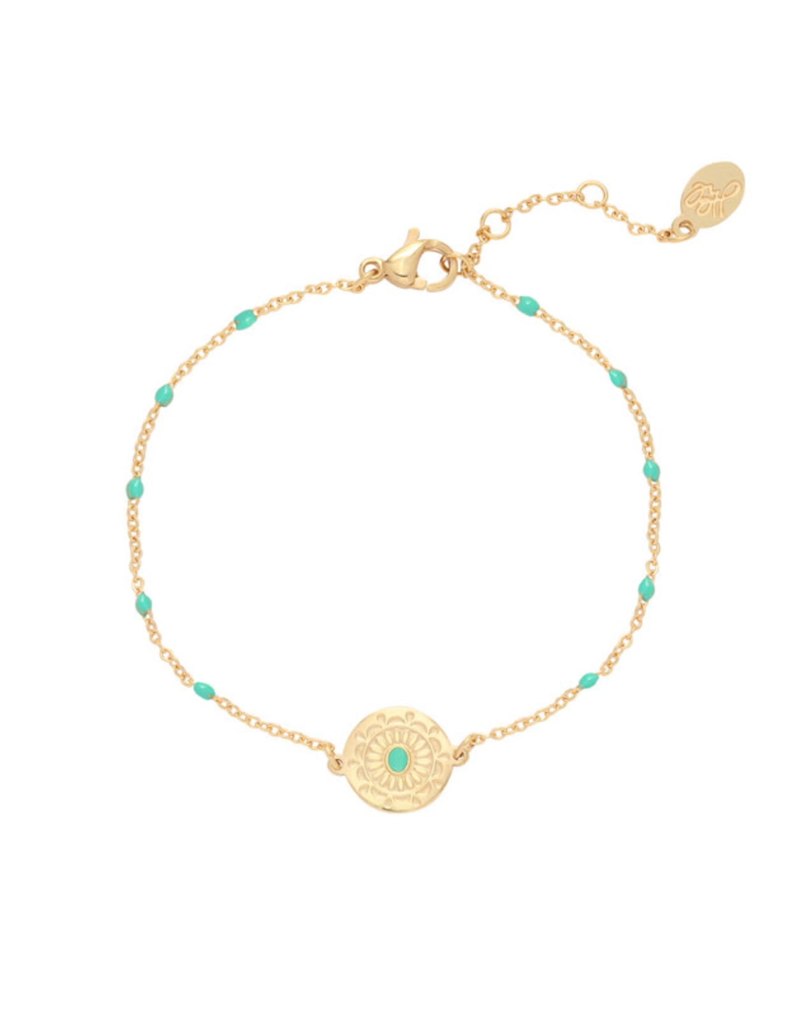 Bracelet deco coin turquoise