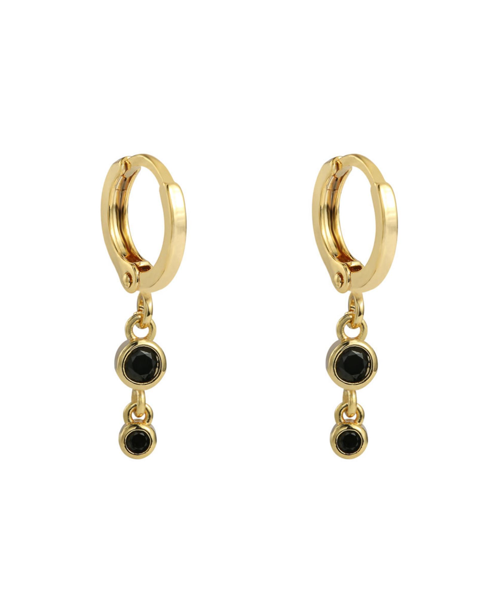 Earrings 2 zirconia's black gold