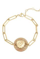 Bracelet Nature Heart Brown/pink gold
