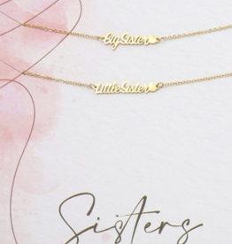 """Bracelets """"Little sister"""" en """"Big sister"""" gold"""
