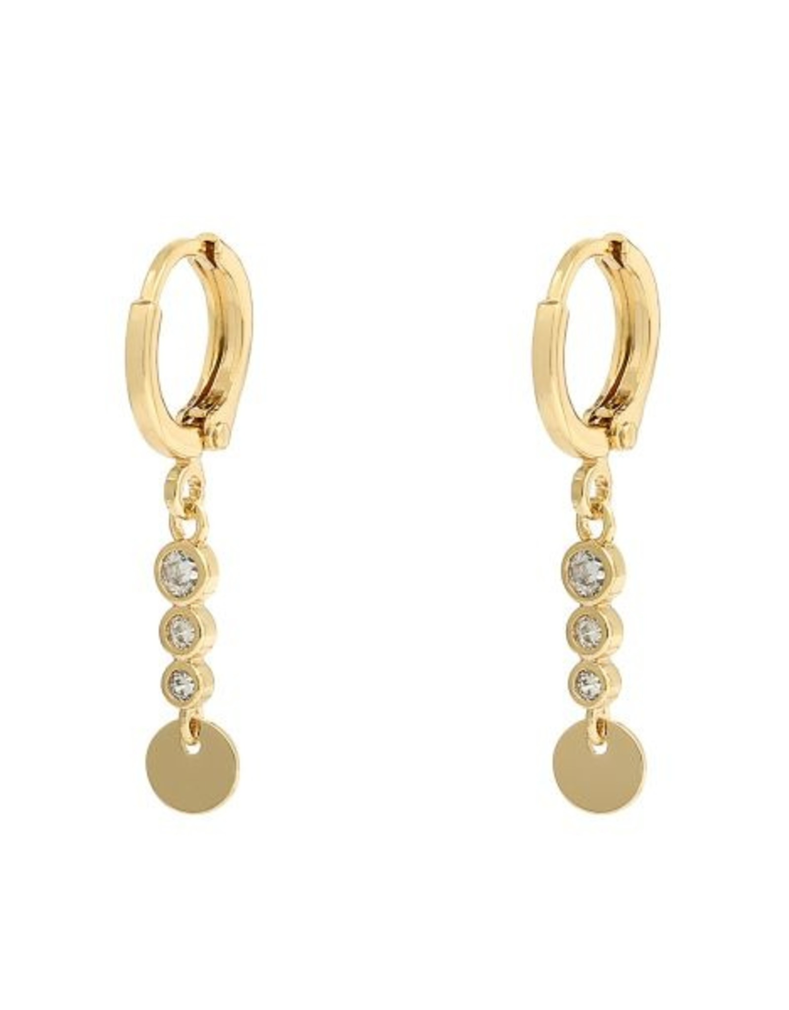 Earrings sparkle and circle white stones