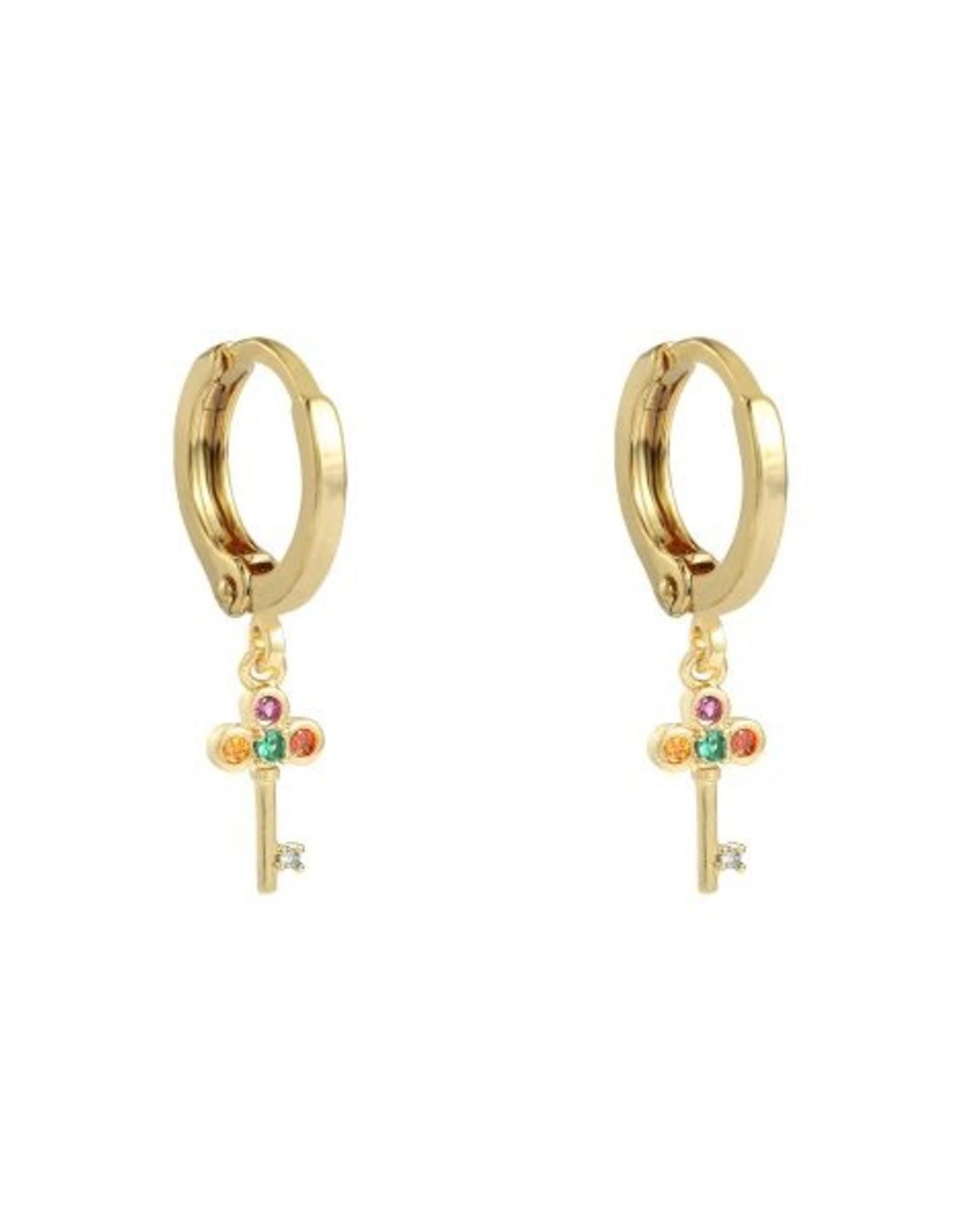 Earrings key of your heart gold