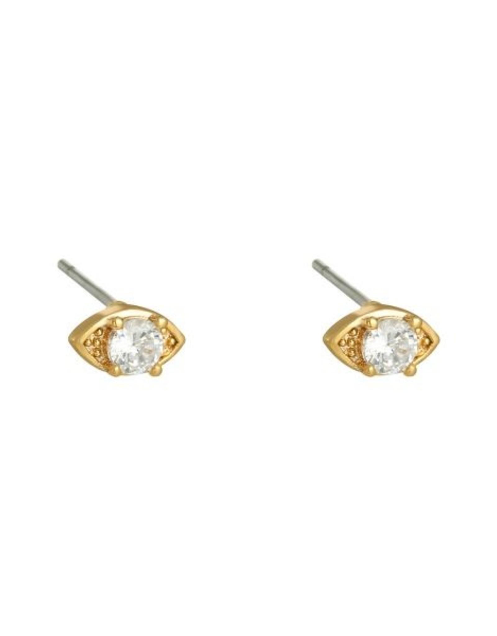 Earrings abstract eye white stone