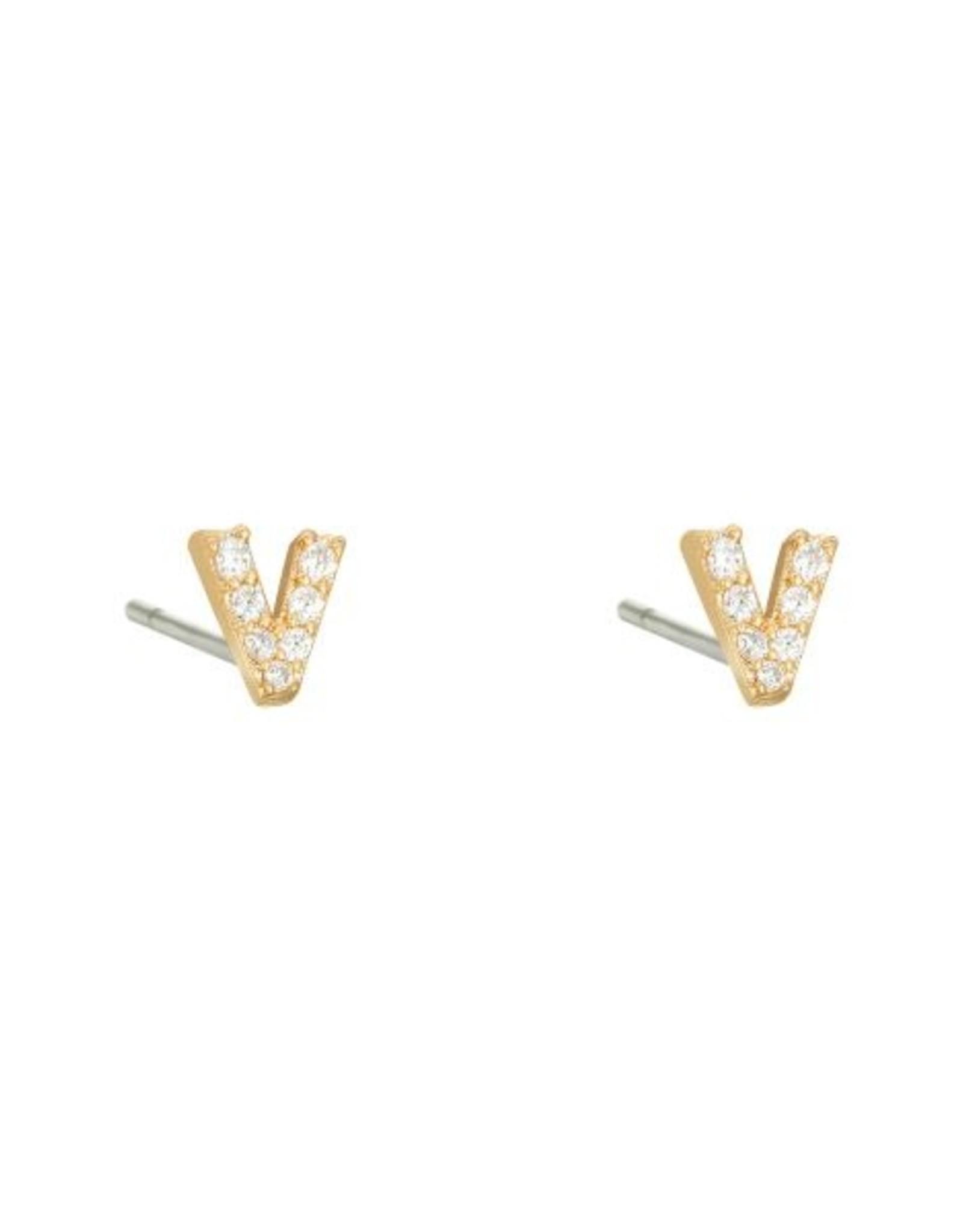 Earrings v mini gold