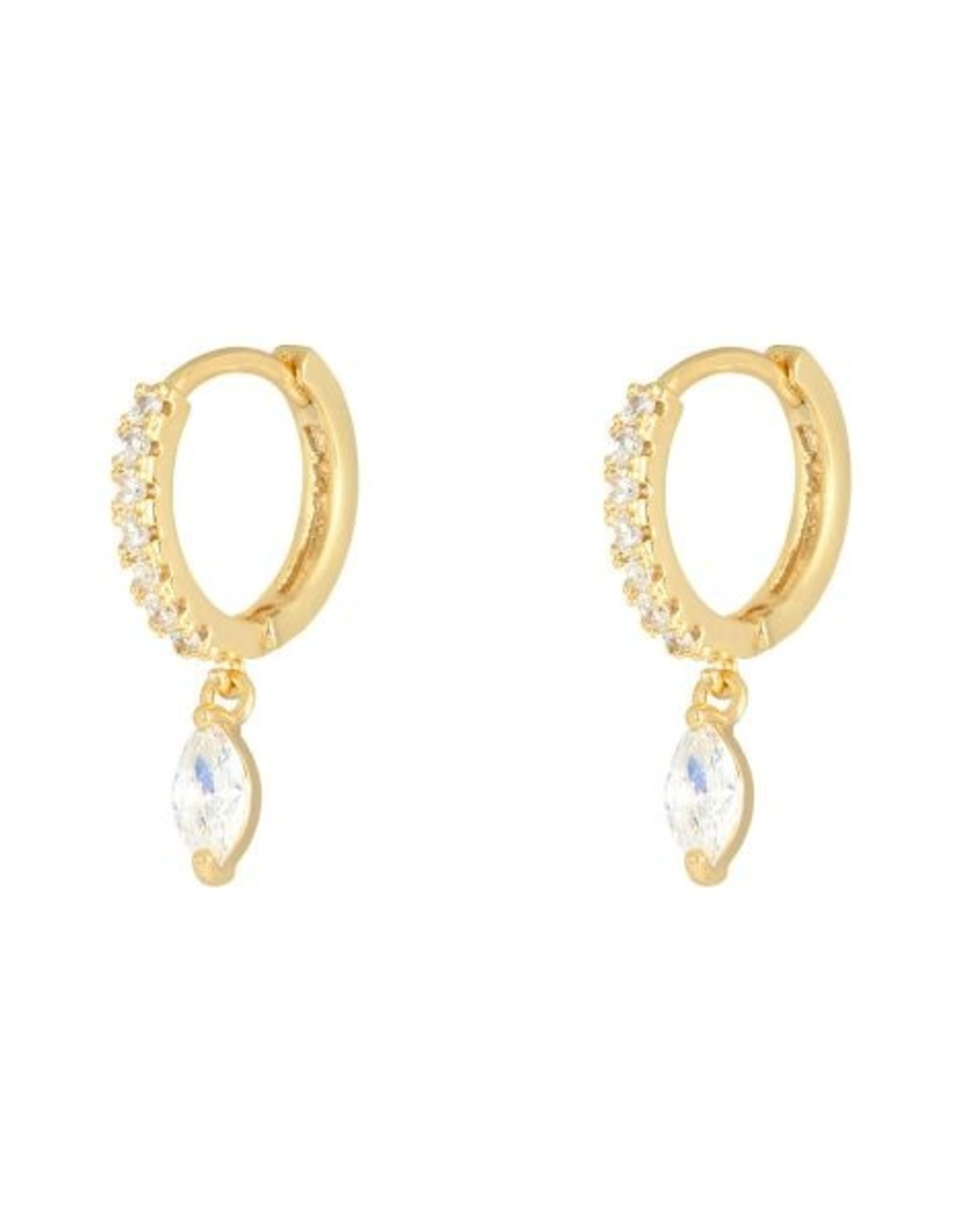 Earrings zircon drop gold