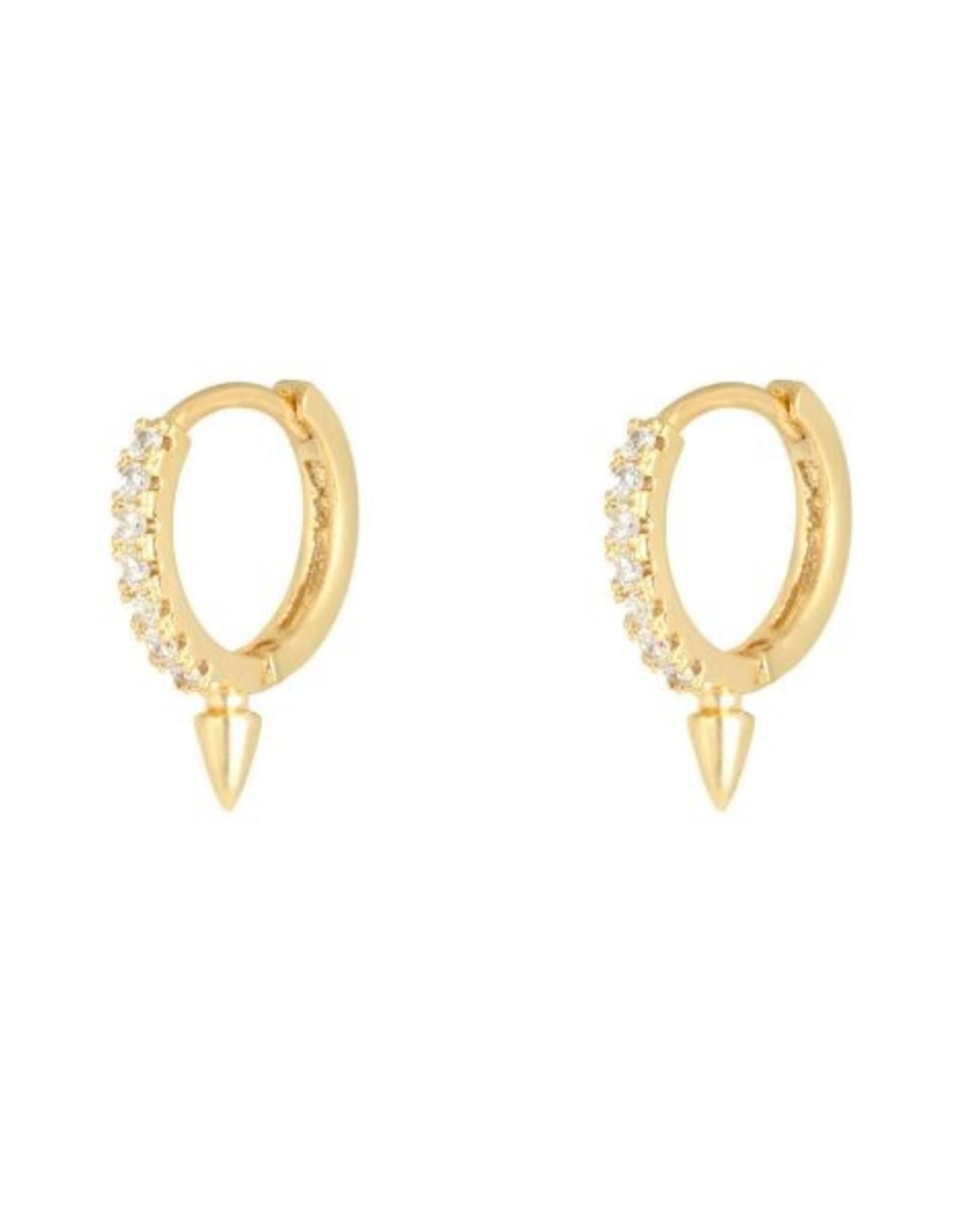 Earrings spike & stones gold