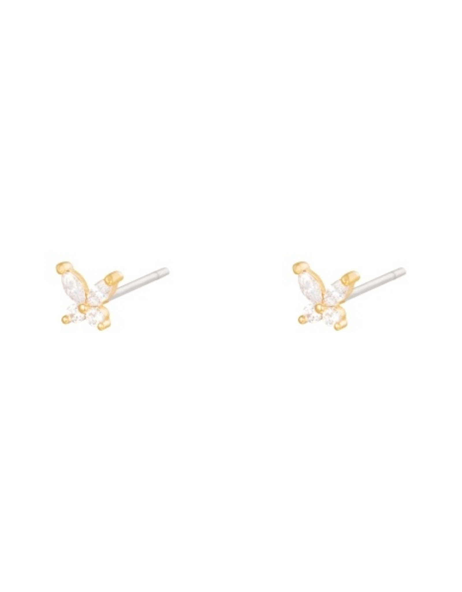 Earrings little diamond butterfly gold