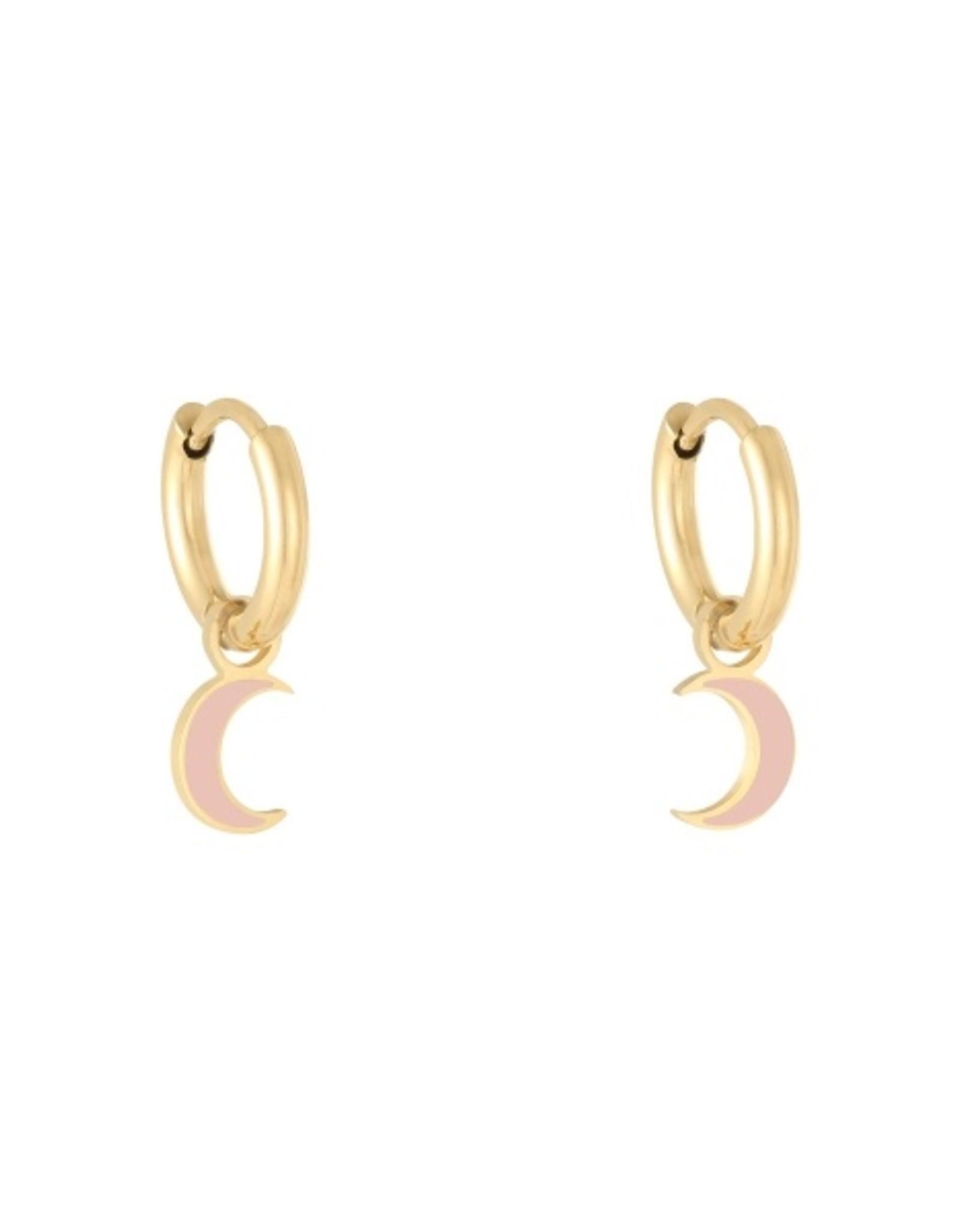 Earrings moon pink