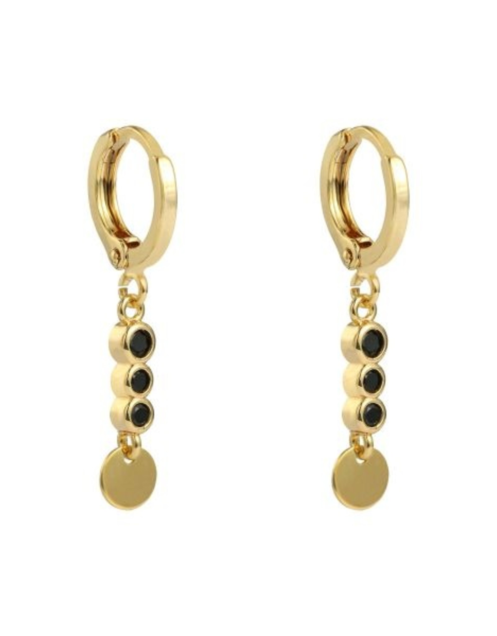 Earrings sparkle and circle black stones