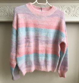 JSM Pull ronde hals Rainbow pink/aqua/lila