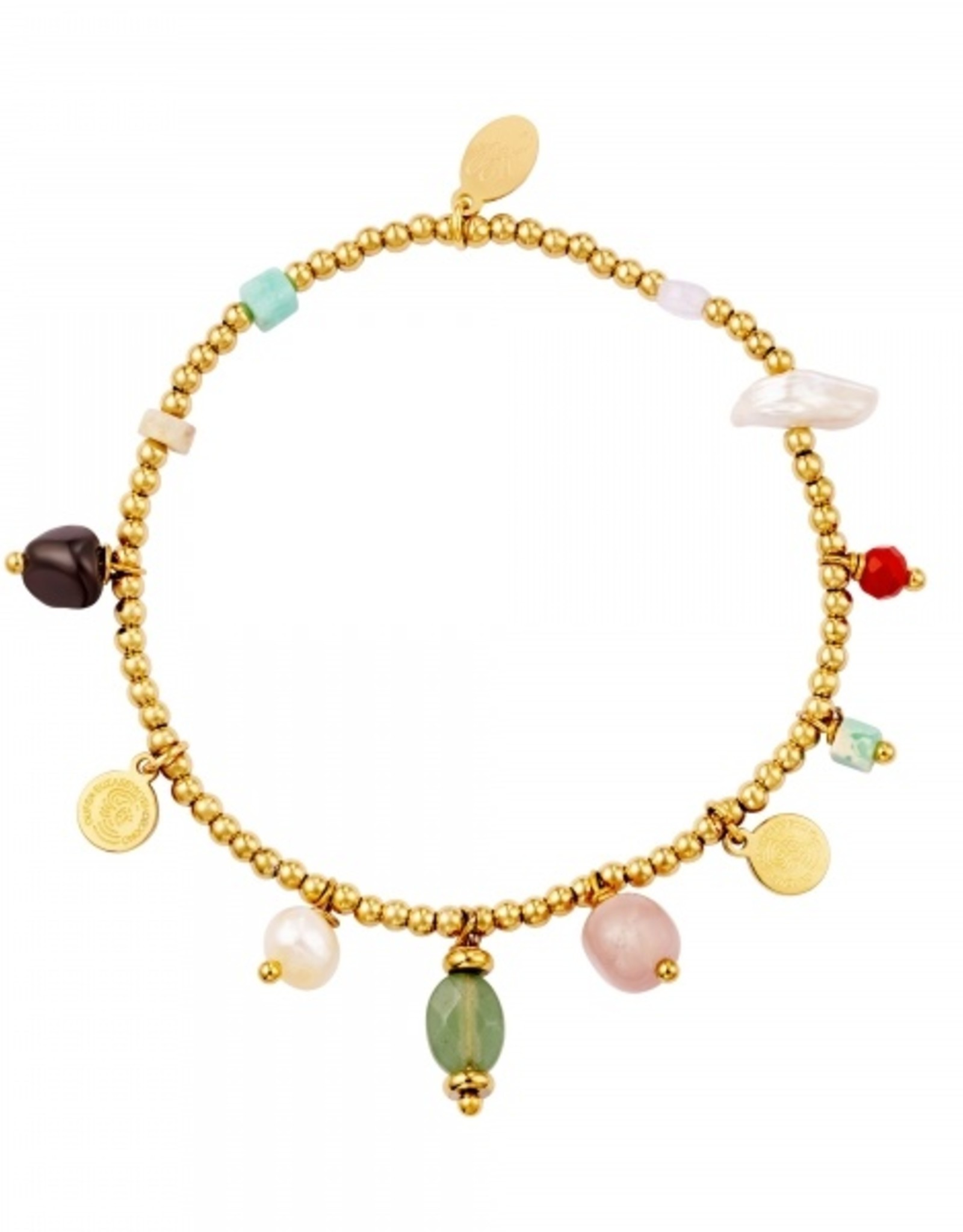 Bracelet with mixed beads and charms