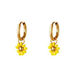 Oorbel bloemetje geel