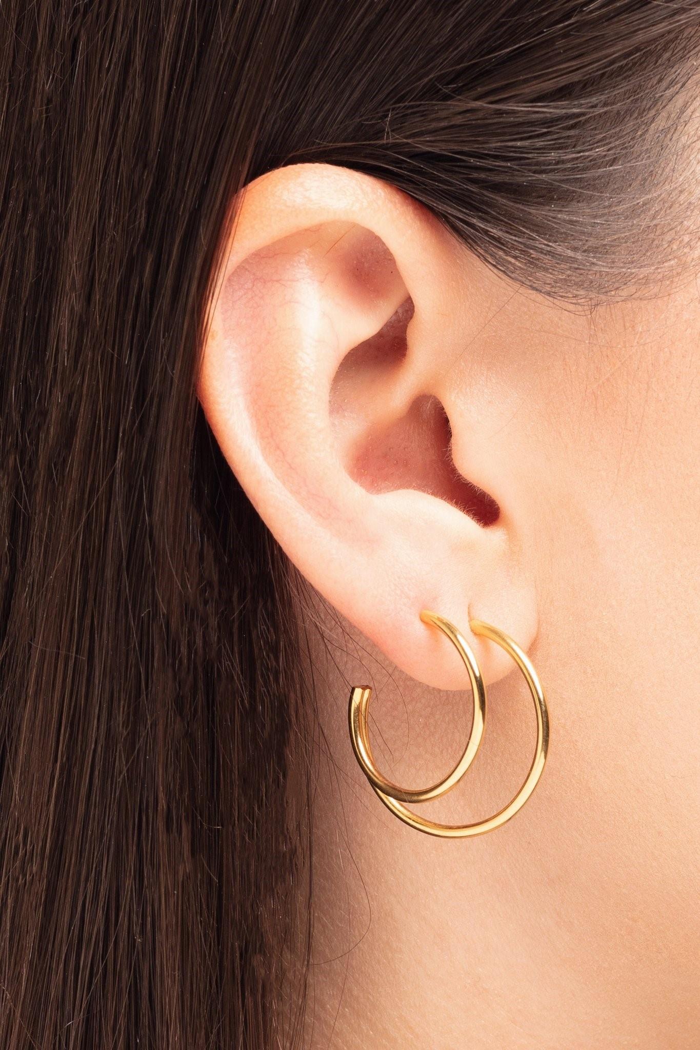 earring element hoop | gold - single left-1