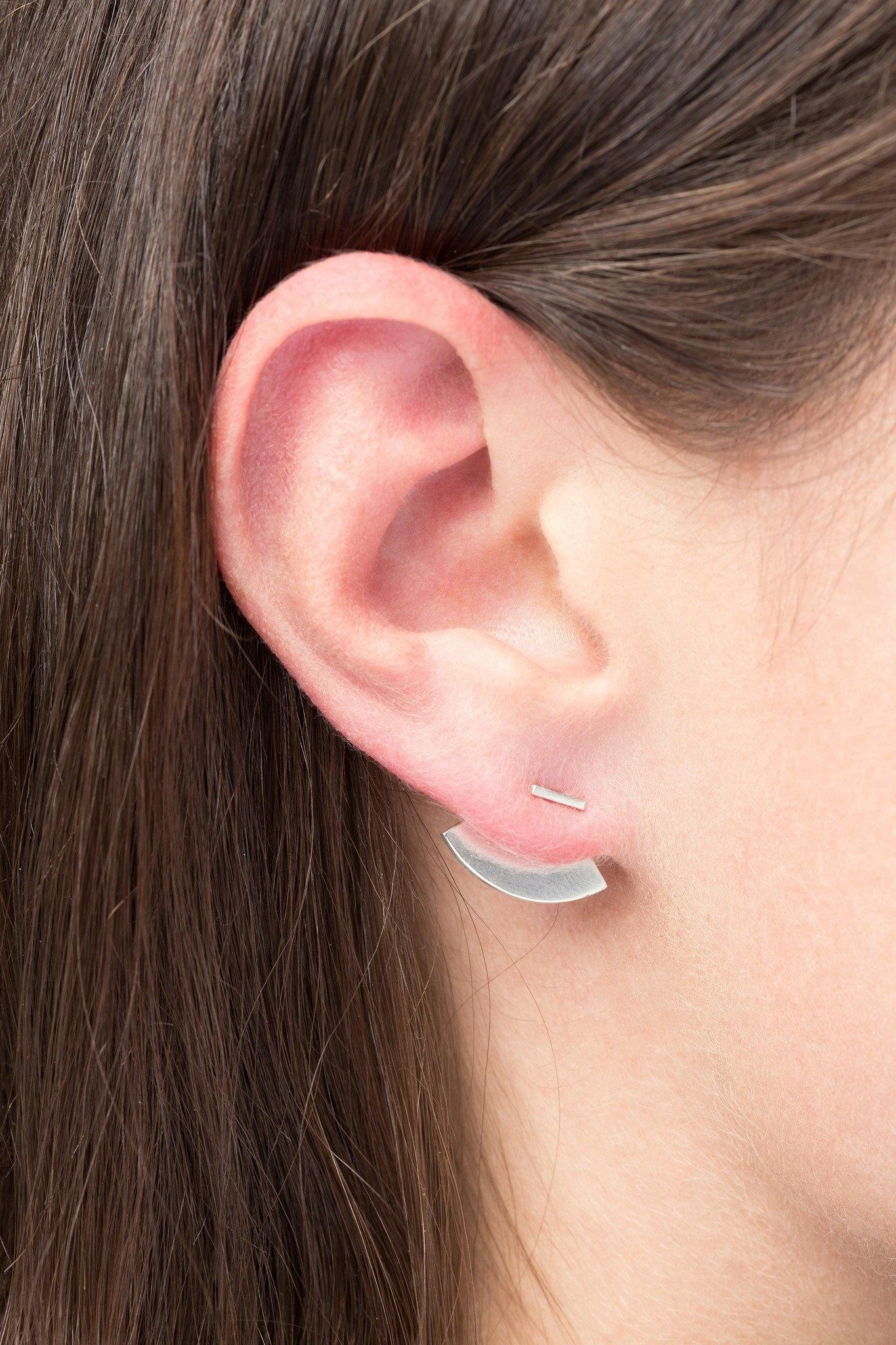 earring crescent back | silver - single-1