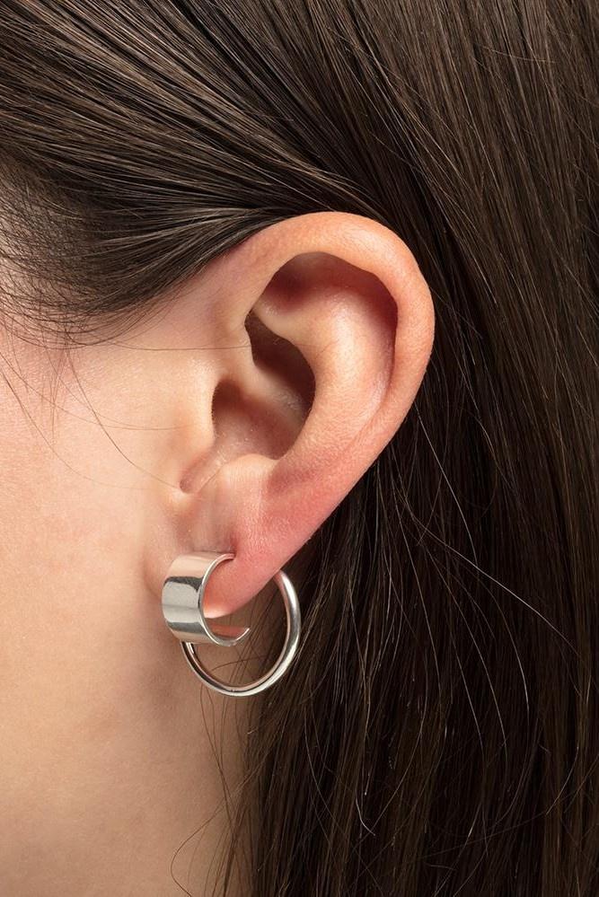 earring bit circle | silver-2