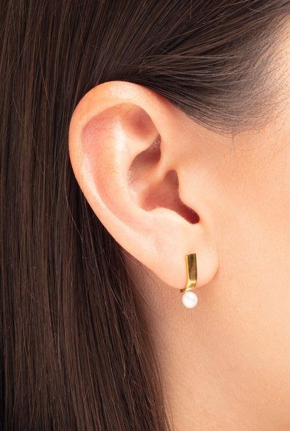 earring pack pin pearl | gold