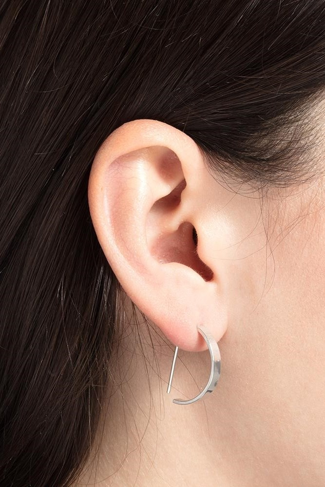 earring level oval   silver - pair-2