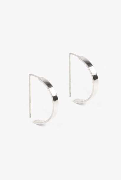 earring level oval | silver - pair