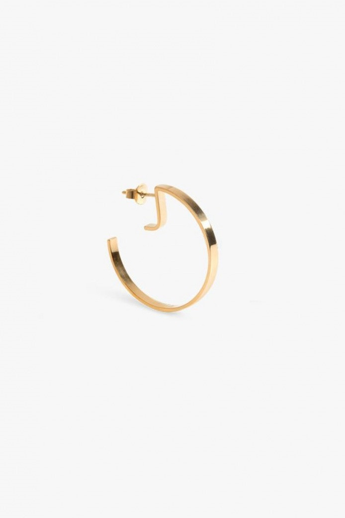 earring level round   gold-1