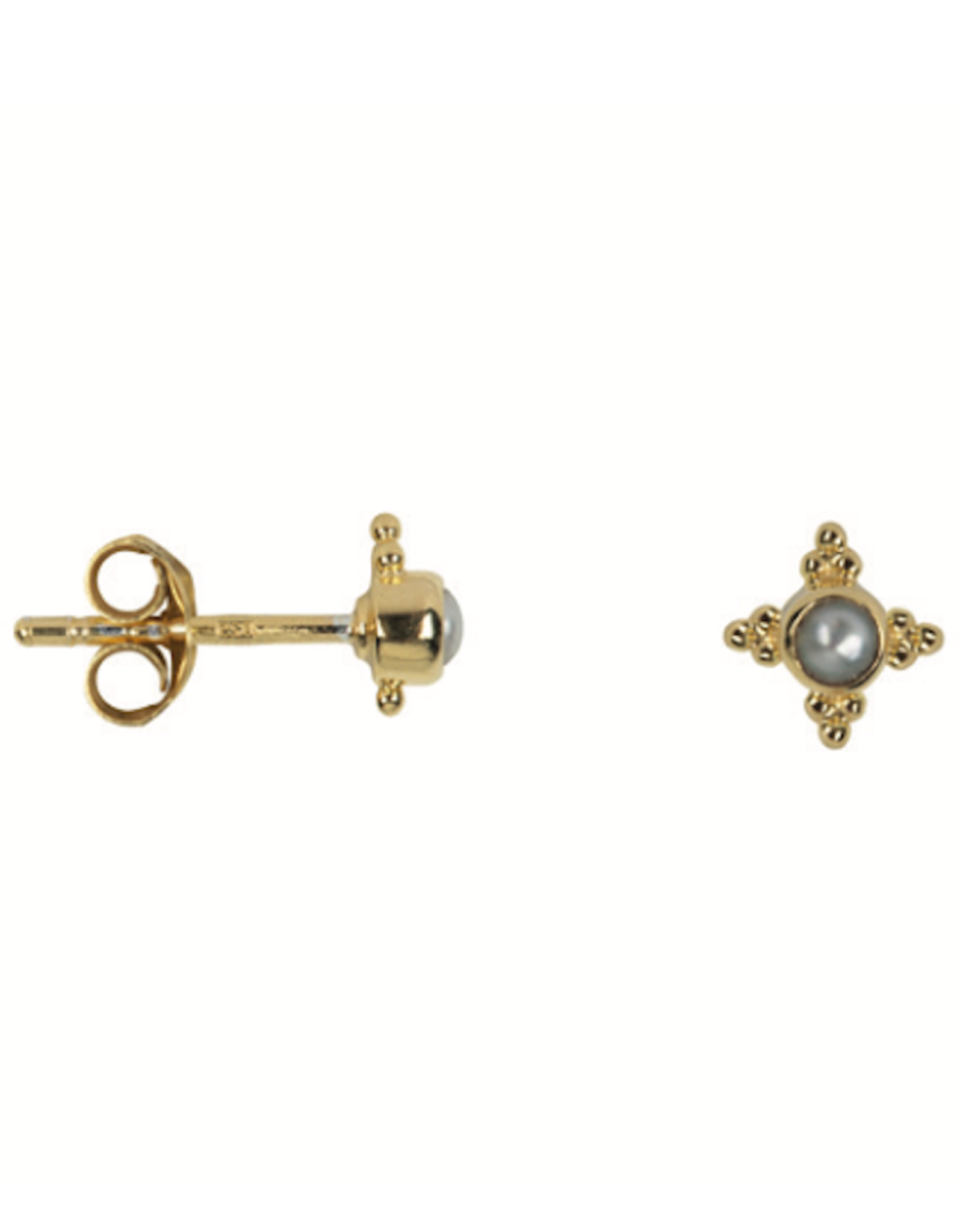 Antique Four Sides Dotted Pearl Stud