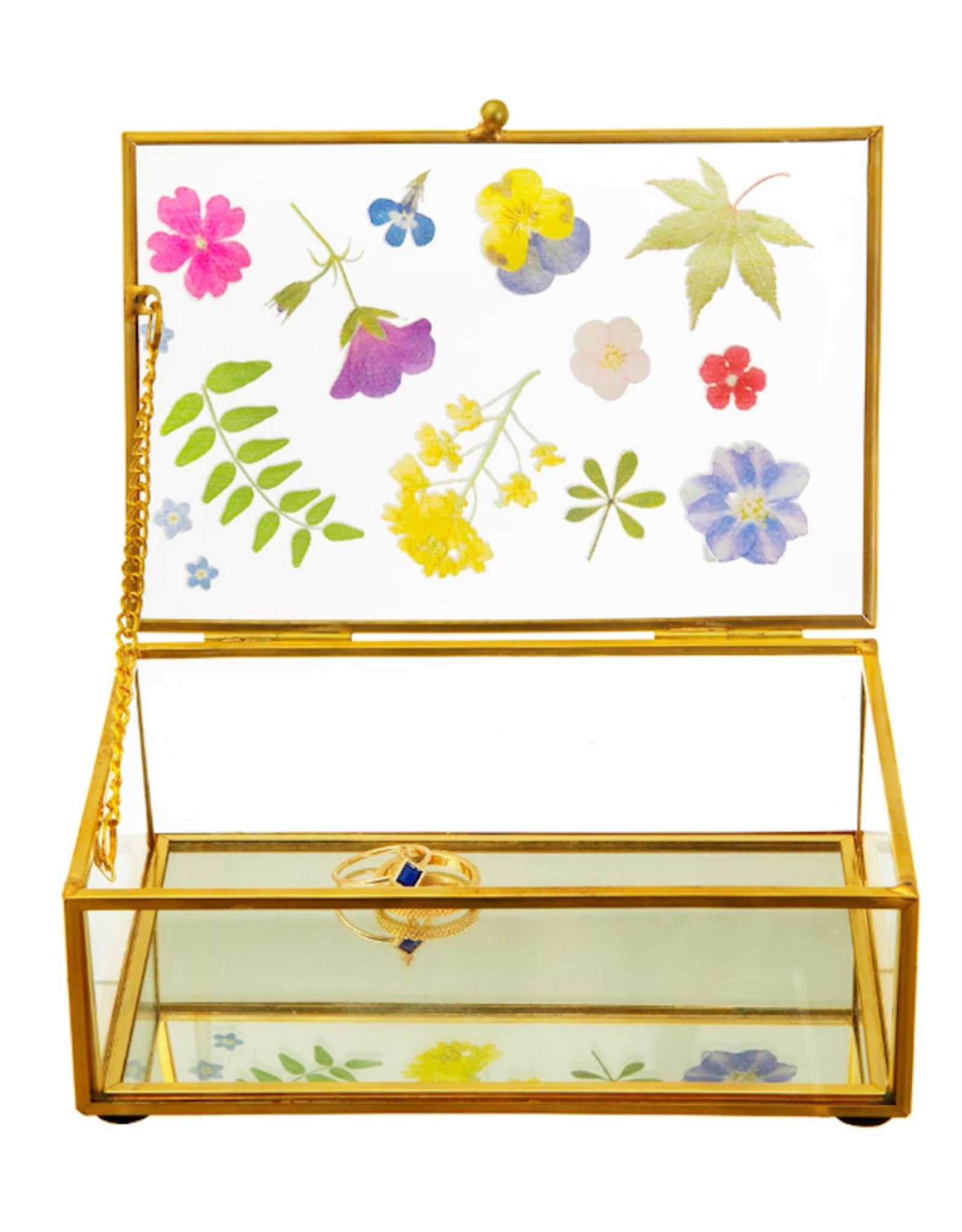 Flowers Glass Jewellery Box
