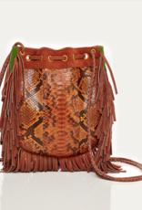 Moka Embrodied Python Fringes Bag Cheyenne