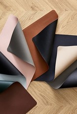 Bitz Placemats Leatherlook L46cmxB33cm Blue/Sand 4 stuks