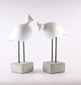 Birds Set Couple Sandstone White H27cm-H31cm
