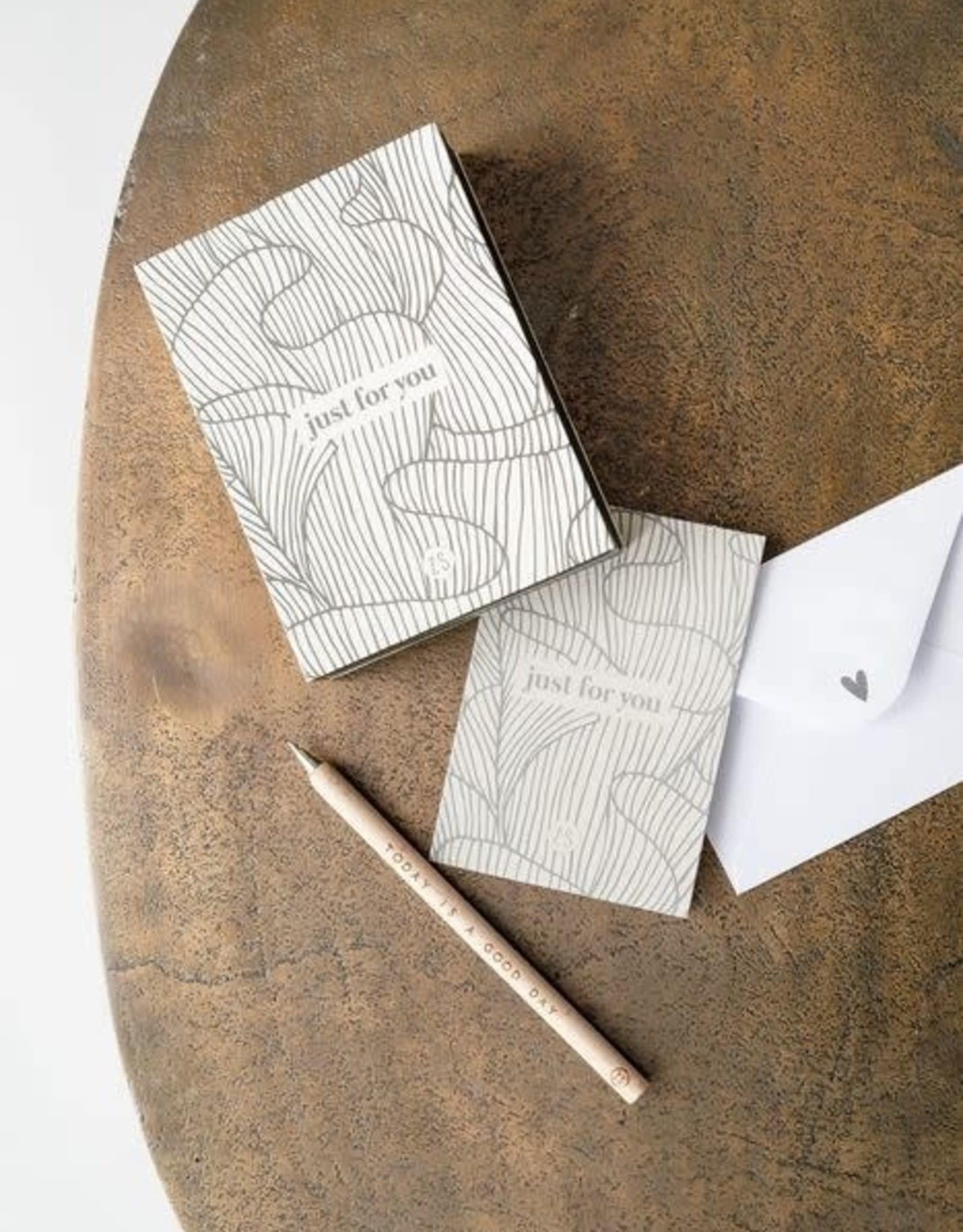 Box met 12 wenskaarten zand 11x7,5cm