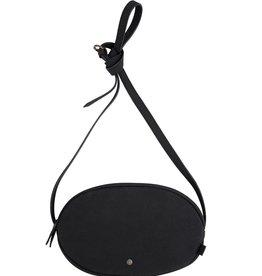 Schoudertas ovaal mat zwart