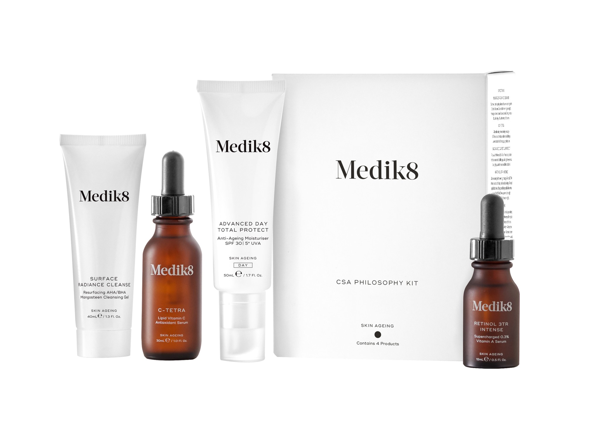 Medik8 Contains 4 products | Surface Radiance Cleanse, C-Tetra, Advanced Day Total Protect, Retinol 3TR Intense