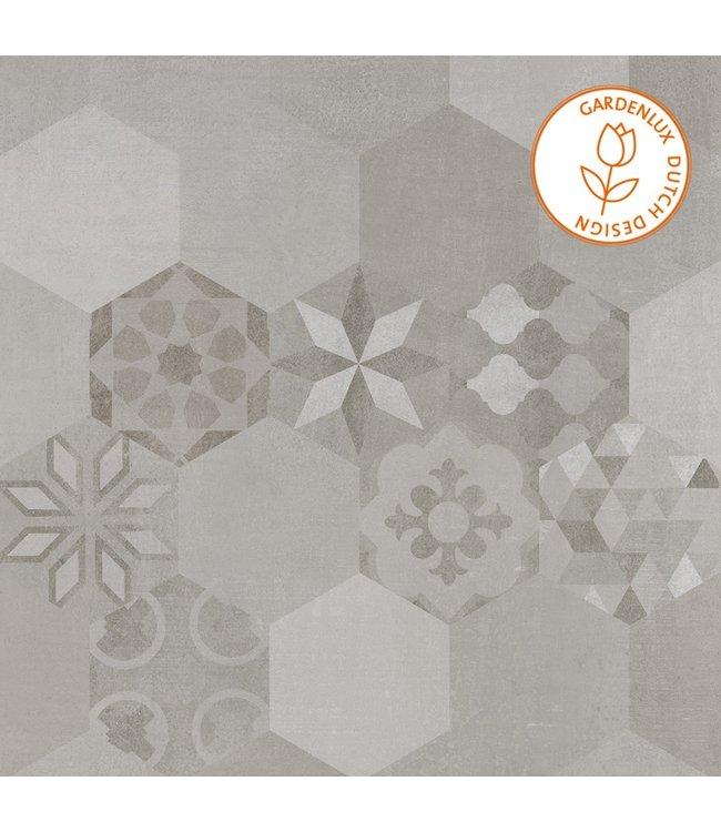 Gardenlux Cera3line Lux & Dutch 70x70x3,2 Boston Decor (prijs per tegel)