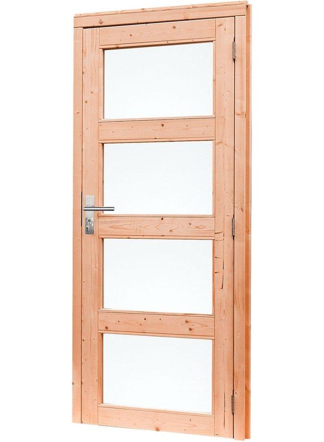 Douglas Links draaiende enkele deur 4-ruits melkglas 90x201 cm