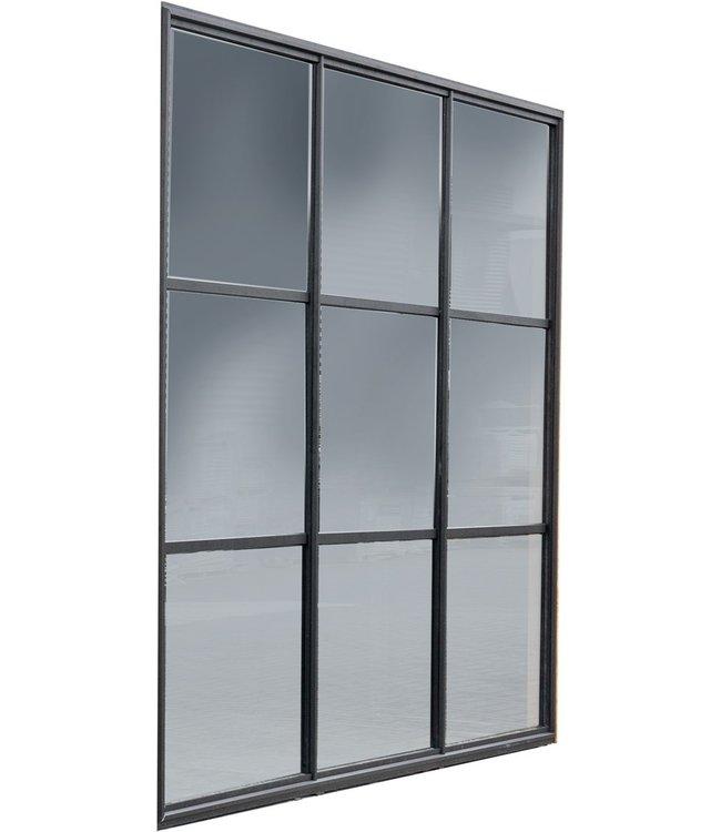 Gardenlux Buitenverblijf Industriële glazen wand zwart gecoat 224x278,5 cm