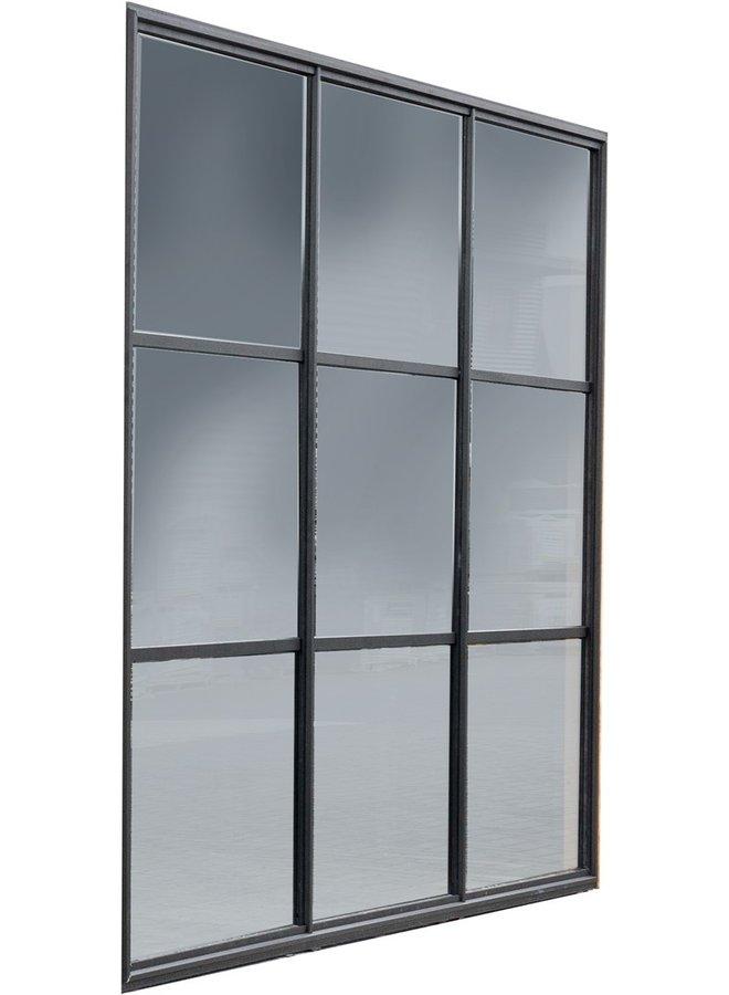 Buitenverblijf Industriële glazen wand zwart gecoat 224x278,5 cm