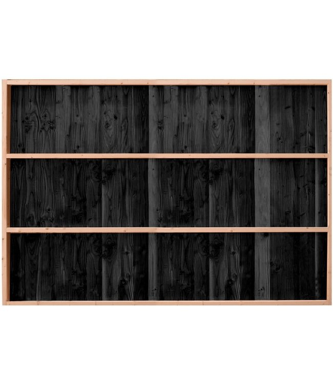 Gardenlux Buitenverblijf Wand C enkelzijdig rabat zwart geïmpregneerd 224x278,5 cm