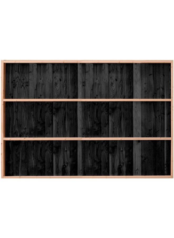 Buitenverblijf Wand C enkelzijdig rabat zwart geïmpregneerd 224x278,5 cm