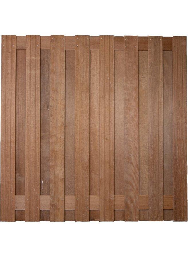 Hardhout Scherm Rvs Geschroefd Victor 17 planks 180x180 cm