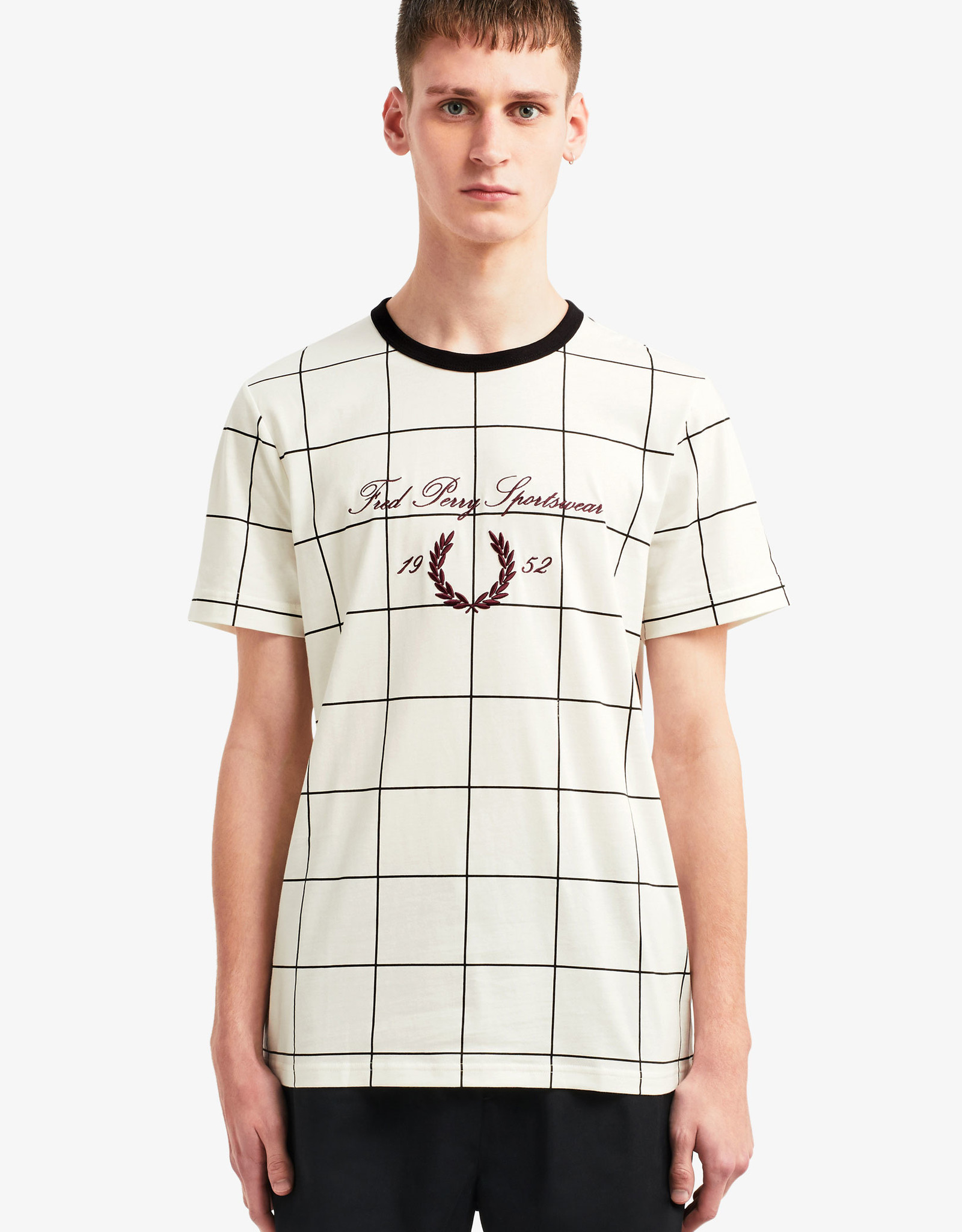 Fred Perry Shirt Wit Geruit