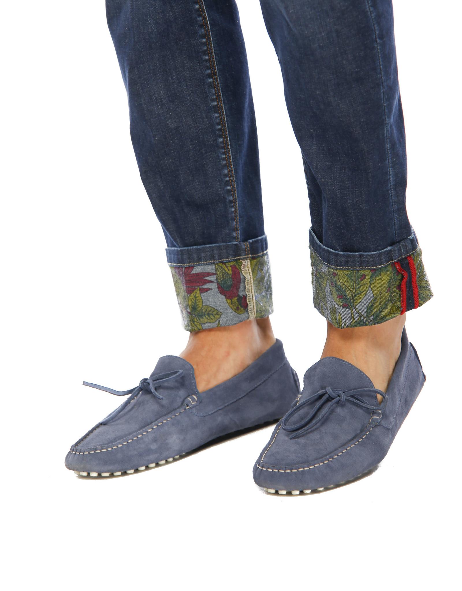 Mason's Jeans donkerblauw met bloem print aan binnenzijde