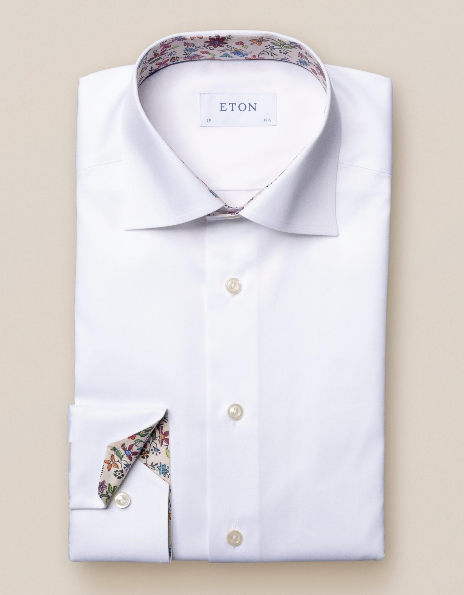 Eton Hemd wit contrast kraag Eton